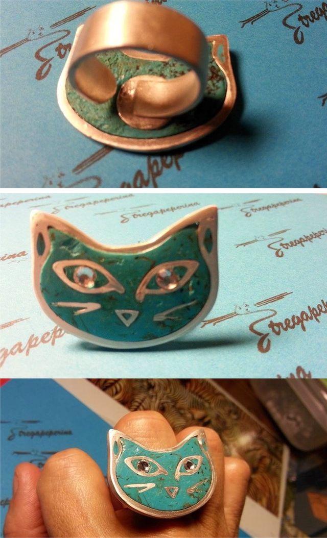 anello argento 999 e argilla polimerica turchese